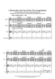 I Wanna Be Like You from the Jungle Book for String Quartet - Score and Parts