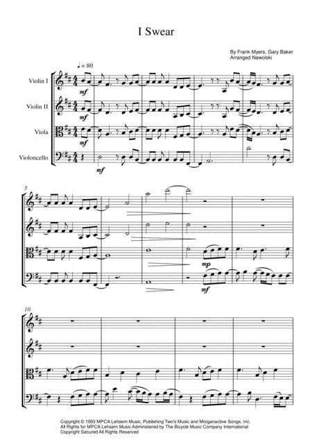 Preview I Swear - String Quartet Score And Parts By John Michael
