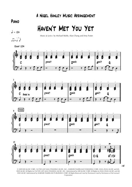 Haven't Met You Yet - Michael Bublé - 8pc pop rock band chart in C