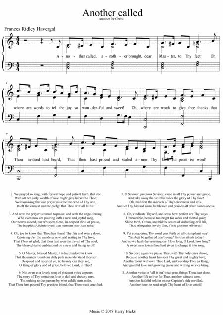 Another called. A new tune to a wonderful hymn by Frances Ridley Havergal.