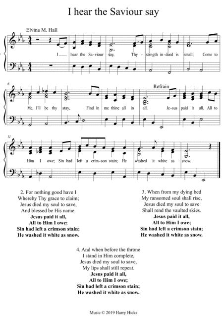 I hear the Saviour say. A new tune to a wonderful old hymn.
