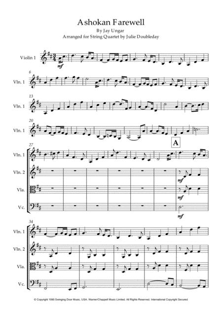 Ashokan Farewell for String Quartet - Score and Parts