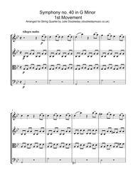 Mozart Symphony No. 40 in G minor, KV. 550 (Mov 1) for String Quartet - Score and Parts