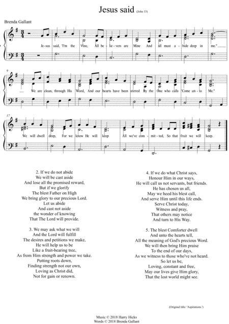 Jesus said 'I'm the vine'. A brand new hymn!