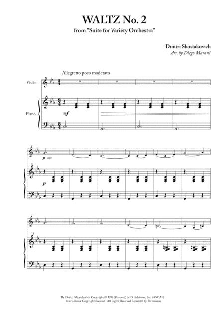 Download Waltz No  2 For Violin And Piano Sheet Music By Dmitri