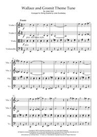 Wallace And Gromit Theme Tune for String Quartet - Score and Parts