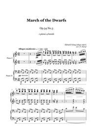 Grieg - March of the Dwarfs Op.54 No.3 - 1 piano 4 hands, score and parts
