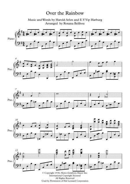 Over The Rainbow from The Wizard Of Oz Piano