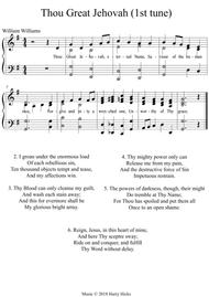 Thou Great Jehovah. A new tune to a wonderful William Williams hymn.