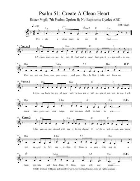 Psalm 51: Create A Clean Heart (Easter Vigil 7th psalm, option C, no baptisms)