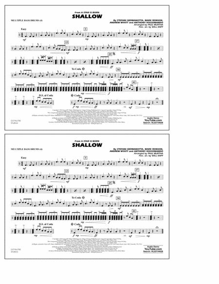 Shallow (from A Star Is Born) (arr. Paul Murtha) - Multiple Bass Drums