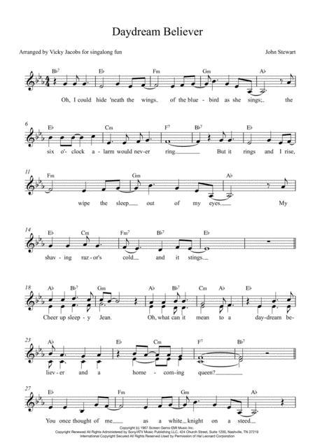 Daydream Believer - lead sheet for singalongs
