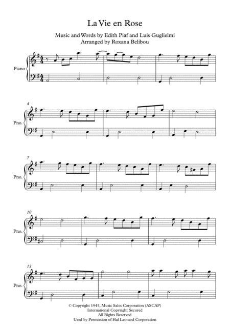 La Vie En Rose by Edith Piaf Easy Piano