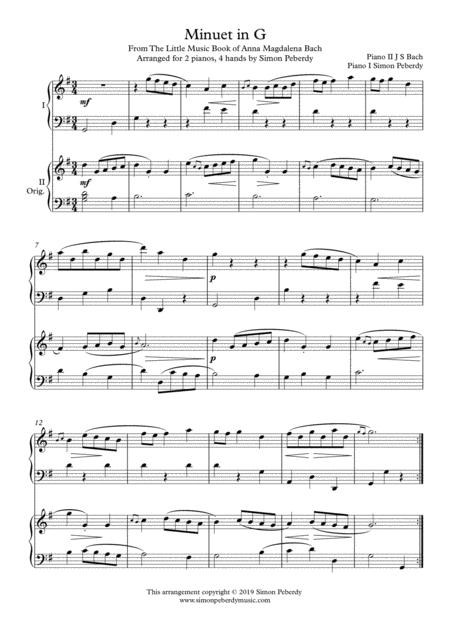 Minuet in G (I) from Anna Magdalena's Notebook (J S Bach), arranged for 2 pianos, 4 hands by Simon Peberdy