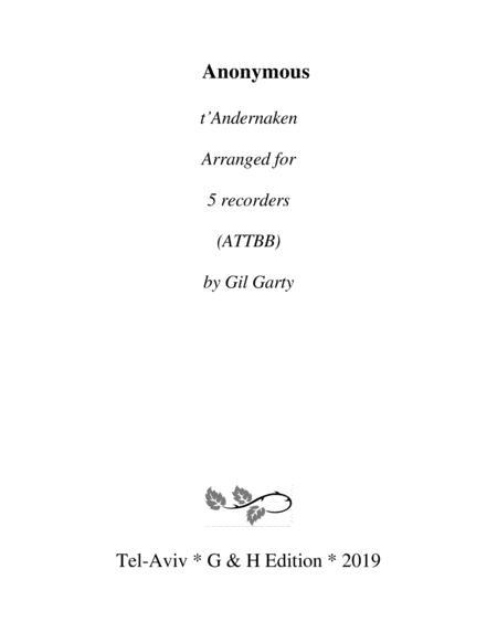 t'Andernaken (arrangement for 5 recorders)