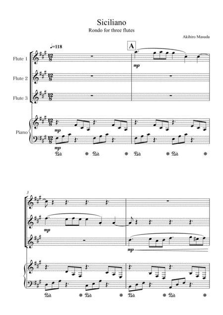 'Siciliano' for three flutes & piano