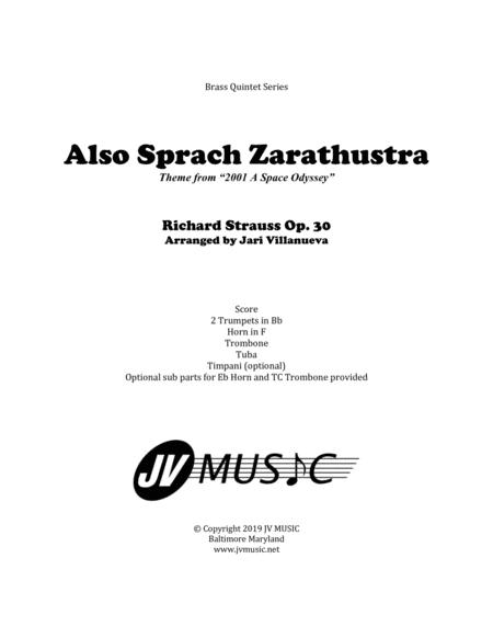Also Sprach Zarathustra for Brass Quintet with optional Timpani