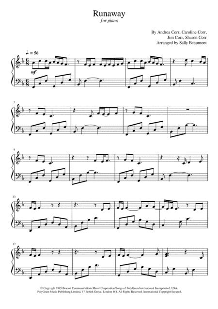 Download Runaway - The Corrs - Piano Cover Sheet Music By