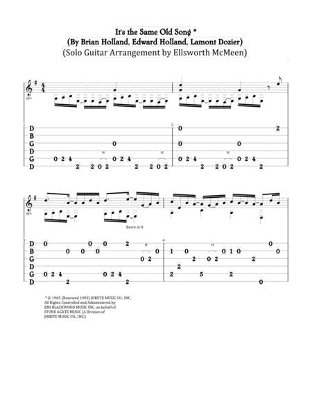 It's The Same Old Song (For Fingerstyle Guitar Tuned Open G - DGDGBD)
