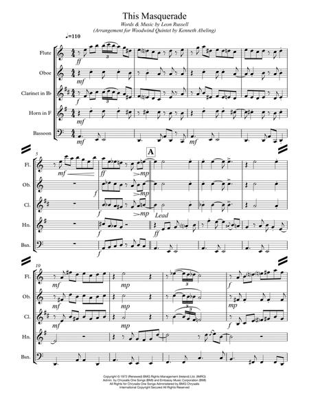 This Masquerade (for Woodwind Quintet)