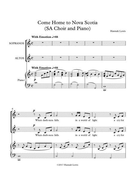 Come Home to Nova Scotia (SA Choir and Piano)