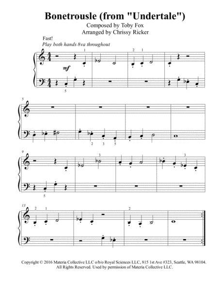 Bonetrousle (from Undertale) - beginner/big note piano with teacher duet