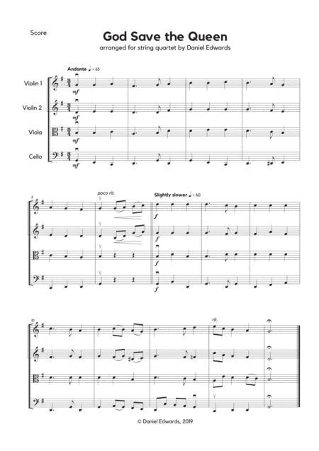 God Save the Queen, UK National Anthem, arranged for string quartet