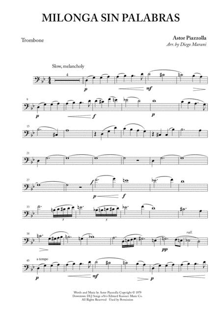 Download Milonga Sin Palabras For Trombone And Piano Sheet
