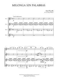 Milonga Sin Palabras for Flute Quartet