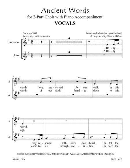Ancient Words (for SA or 2-Part Choir with Piano accompaniment)
