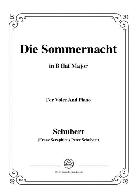 Schubert-Die Sommernacht,in B flat Major,for Voice&Piano