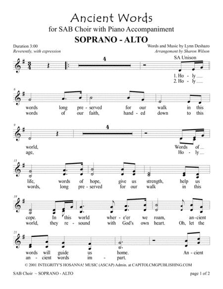 Ancient Words (for SAB Choir with Piano accompaniment)