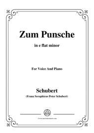 Schubert-Zum Punsche,in e flat minor,for Voice&Piano