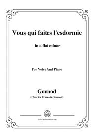 Gounod-Vous qui faites l'esdormie in a flat minor, for Voice and Piano