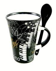 Cappuccino Mug With Spoon - Piano (Black)