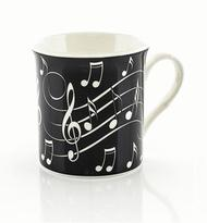 Music Notes Mug - White On Black