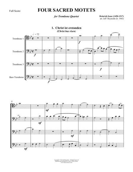 Four Sacred Motets for Trombone Quartet Ensemble