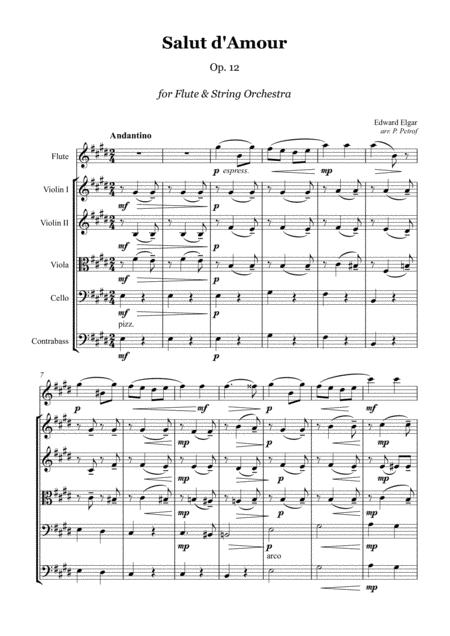 ELGAR - Salut d'Amour - for Flute and String Orchestra, score and parts