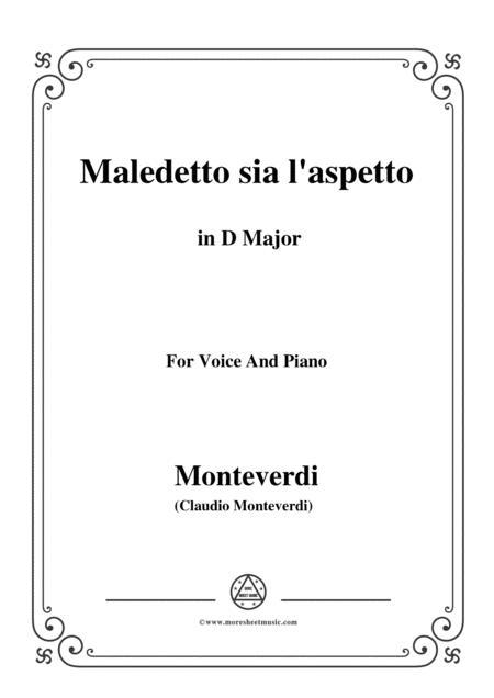 Monteverdi-Maledetto sia l'aspetto in F Major, for Voice and Piano