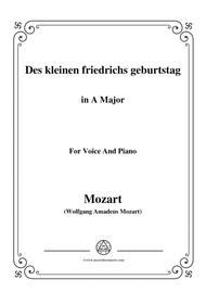 Mozart-Des kleinen friedrichs geburtstag,in A Major,for Voice and Piano