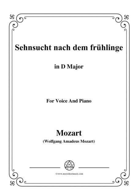 Mozart-Sehnsucht nach dem frühlinge,in D Major,for Voice and Piano