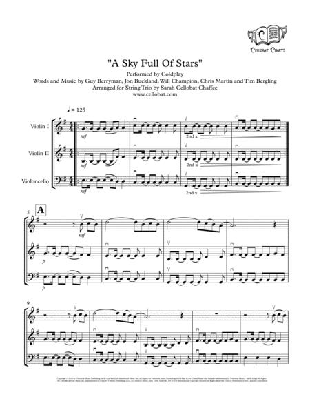 A Sky Full Of Stars - String Trio (2 Violins & Cello) - Coldplay arr. Cellobat