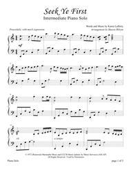 Seek Ye First (Intermediate Sacred Piano Solo)