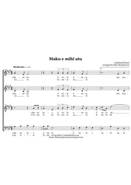 Maku e mihi atu - SATB - Maori NZ Acapella