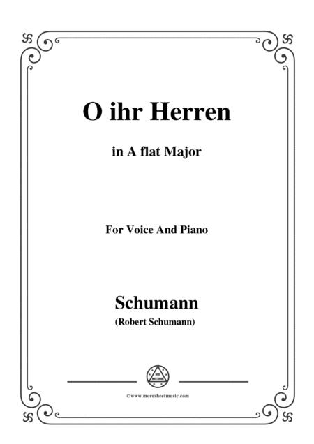 Schumann-O ihr Herren,in A flat Major,for Voice and Piano