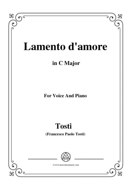 Tosti-Lamento d'amore in C Major,for voice and piano