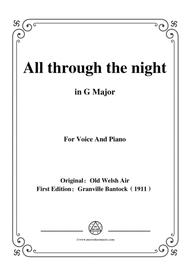 Bantock-Folksong,All through the night,in G Major,for Voice and Piano