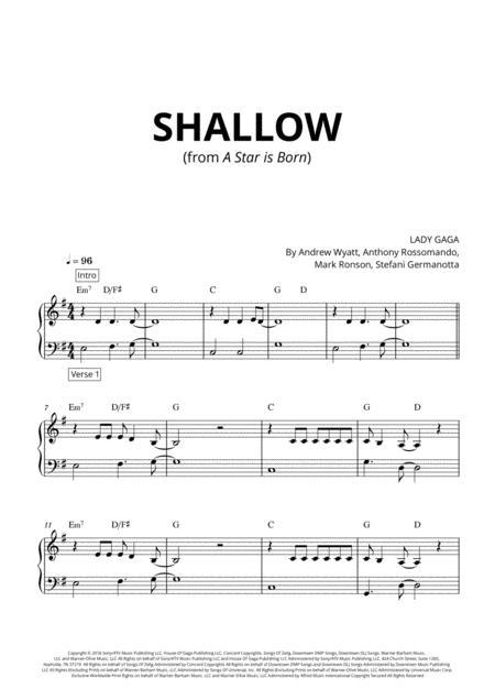 Shallow - Very easy piano - Original Version
