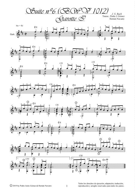 J.S. Bach Gavotte I BWV 1012-6th. suite cello guitar arr.: P.J. Gómez & H. Navarro edition