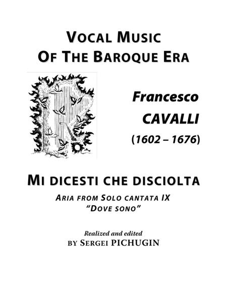 CAVALLI Francesco: Mi dicesti che disciolta, aria from the cantata, arranged for Voice and Piano (B minor)